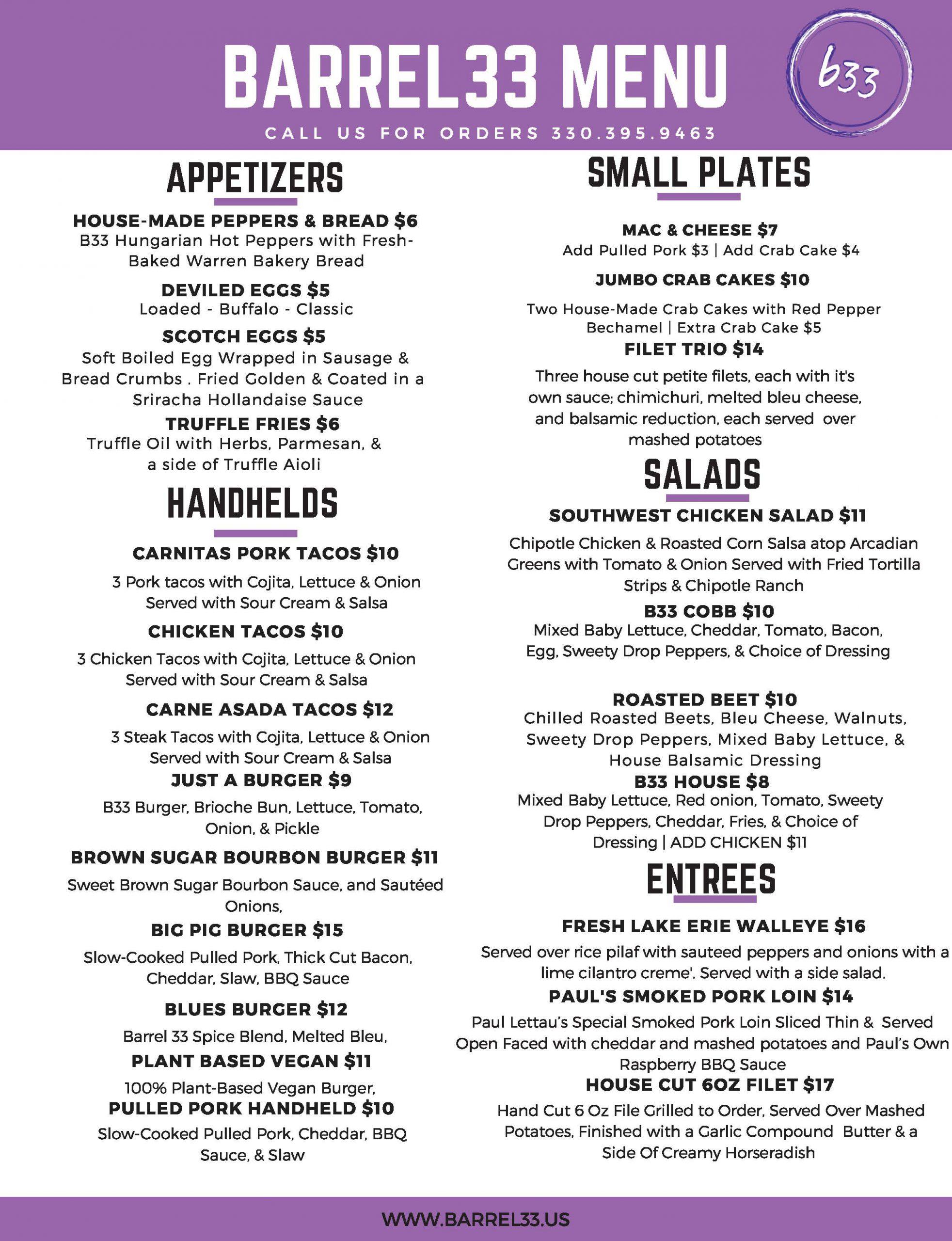 current menu july 3